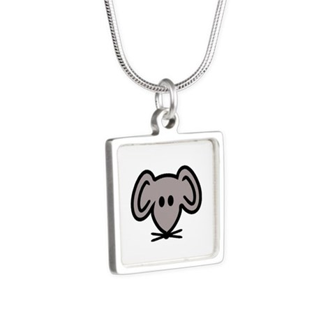 Mouse head face Silver Square Necklace
