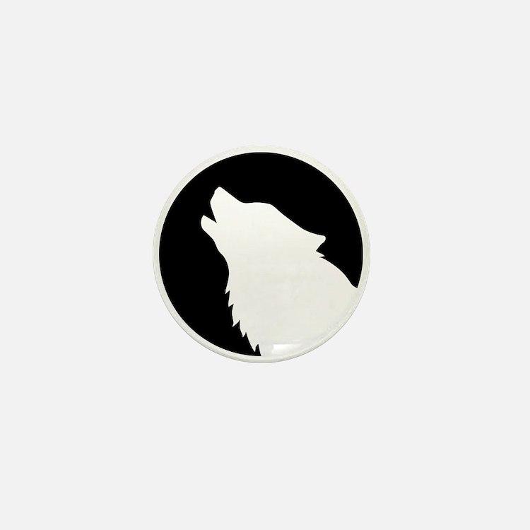Wolf moon night Mini Button