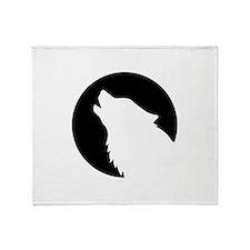 Wolf moon night Throw Blanket