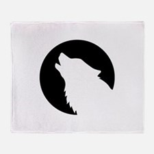 Wolf moon night Throw Blanket