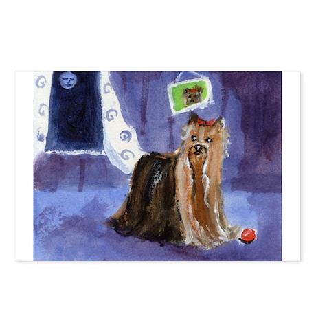 Yorkie smiling moon Postcards (Package of 8)