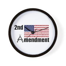 2nd Amendment AR Rifles A and Flag Wall Clock