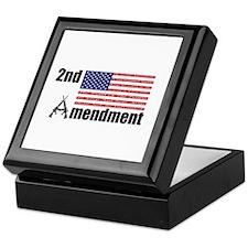 2nd Amendment AR Rifles A and Flag Keepsake Box