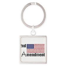 2nd Amendment AR Rifles A and Flag Keychains