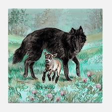 Belgian Sheepdog and Lamb Tile Coaster