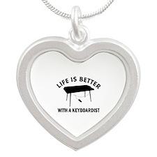 Keyboardist designs Silver Heart Necklace