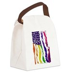 American Flag Color Canvas Lunch Bag