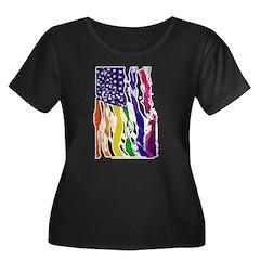 American Flag Color Plus Size T-Shirt