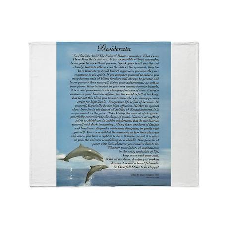 DESIDERATA Poem Dolphins Throw Blanket