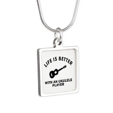 Ukulele designs Silver Square Necklace