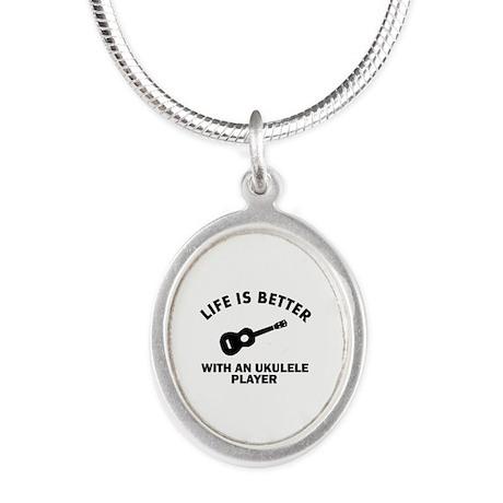 Ukulele designs Silver Oval Necklace