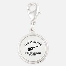 Ukulele designs Silver Round Charm