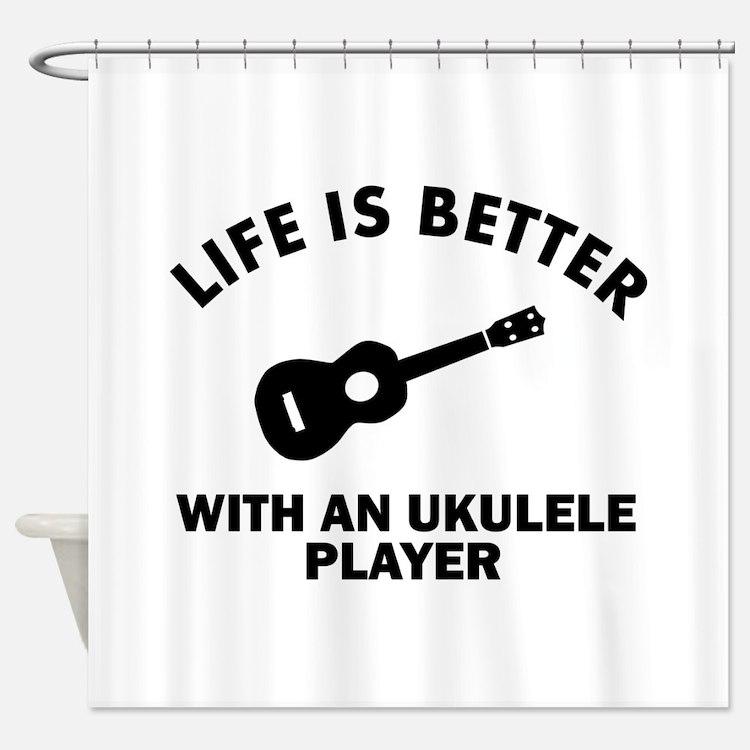 Ukulele designs Shower Curtain