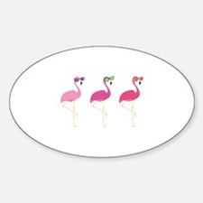 Cool Flamingos Sticker (Oval)