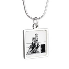 Rodeo Cowgirl Silver Square Necklace
