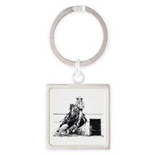 Rodeo Cowgirl Square Keychain
