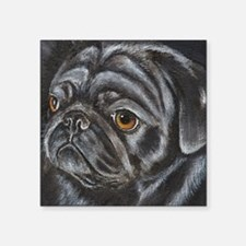"pugblackacrylicsq.png Square Sticker 3"" x 3"""