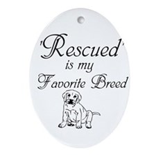 Rescued Dog Ornament (Oval)