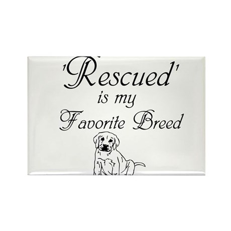 Rescued Dog Rectangle Magnet (100 pack)