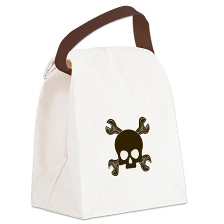 SkullCrossWrenches.png Canvas Lunch Bag