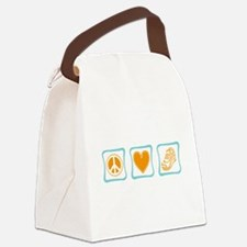 PeaceLoveRunningSquares.png Canvas Lunch Bag