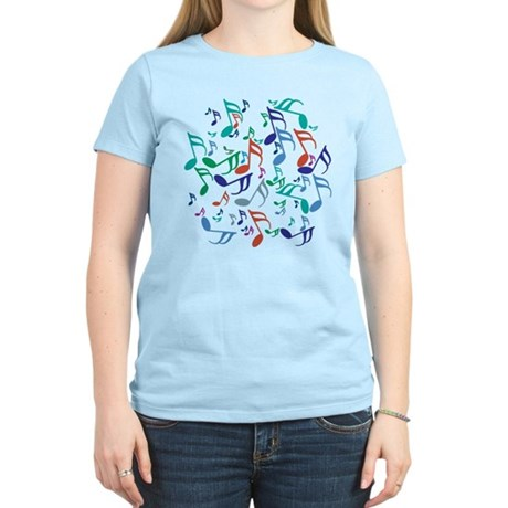Colorful Music Notes Women's Light T-Shirt