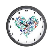 Colorful Music Notes Wall Clock