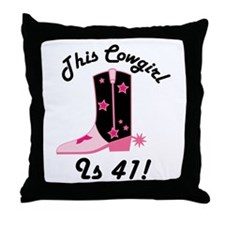 41st Birthday Cowgirl Throw Pillow