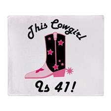 41st Birthday Cowgirl Throw Blanket