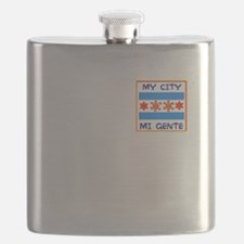 TAINO SUN IN THE CHICAGO FLAG Flask