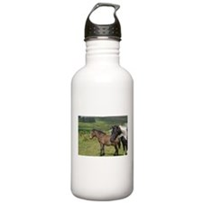horses on the moor Sports Water Bottle