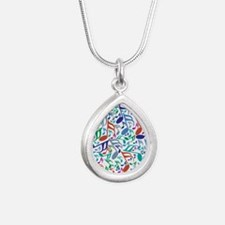 Colorful Music Notes Silver Teardrop Necklace