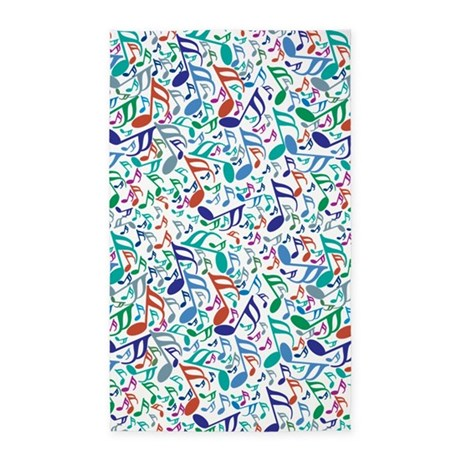 Colorful Music Notes 3'x5' Area Rug