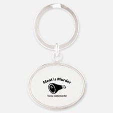Meat is Murder Oval Keychain
