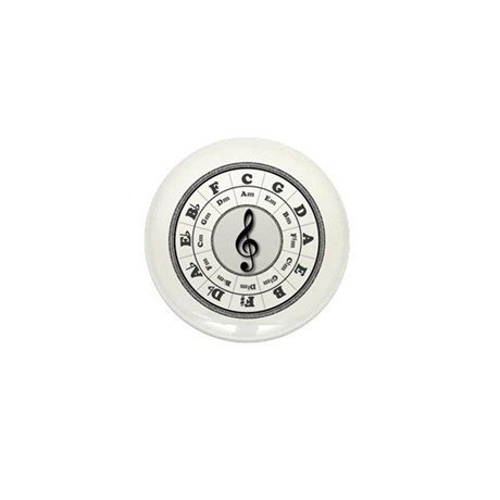 Grayscale Circle of Fifths Mini Button
