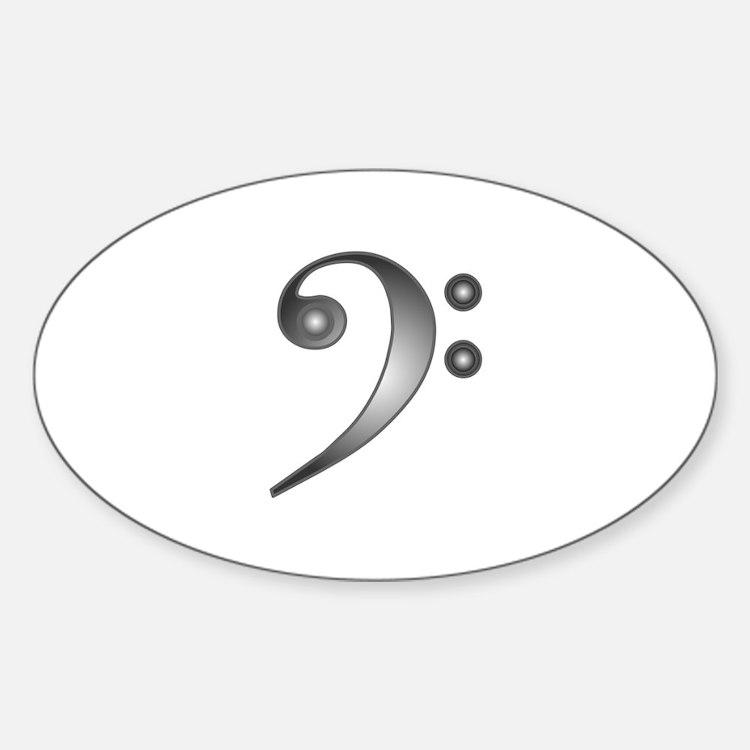 """Metallic"" Bass Clef Oval Decal"