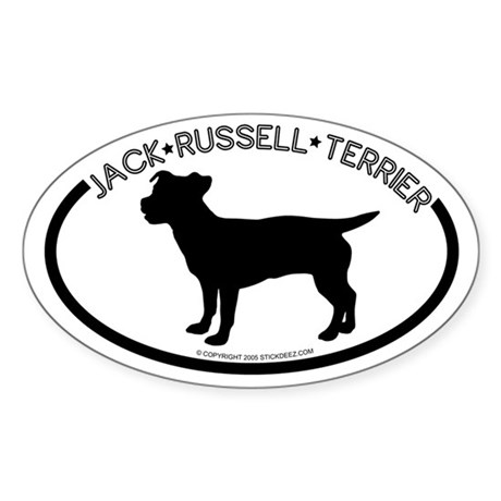"""Jack Russel"" White Oval Sticker"