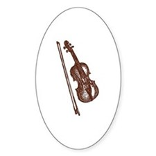 Woodcut Brown Violin/Fiddle Oval Decal