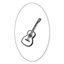 Antique Woodcut Guitar Oval Decal