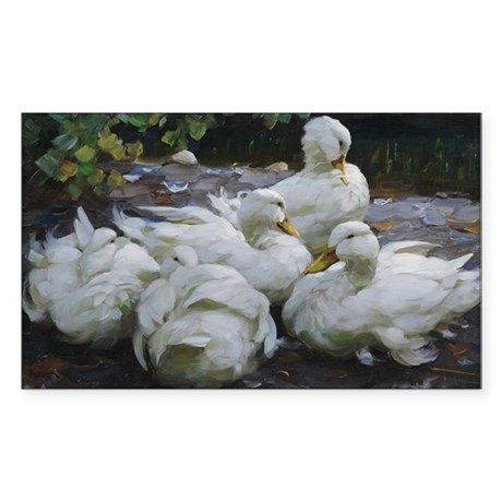 Flock of White Ducks Sticker