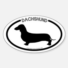 """Dachshund"" White Oval Bumper Stickers"