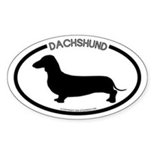 """Dachshund"" White Oval Decal"