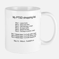 PTSD - Shopping List - Football's on. Mug