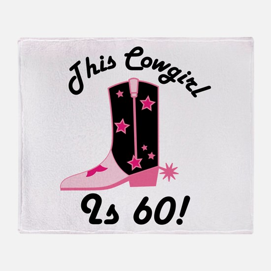 60th Birthday Cowgirl Throw Blanket