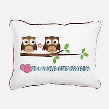 Owl 28th Anniversary Rectangular Canvas Pillow