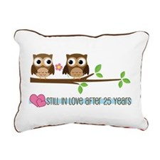 Owl 25th Anniversary Rectangular Canvas Pillow
