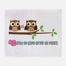Owl 18th Anniversary Throw Blanket