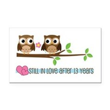 Owl 13th Anniversary Rectangle Car Magnet