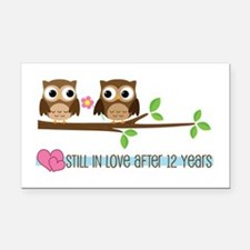 Owl 12th Anniversary Rectangle Car Magnet