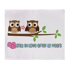 Owl 12th Anniversary Throw Blanket